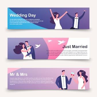 Свадебные баннеры векторный шаблон с мультипликационным персонажем