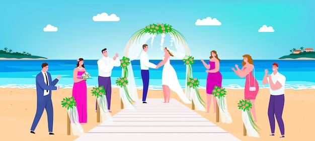 Wedding beach ceremony illustration, cartoon happy man woman couple characters getting married on tropical terrace