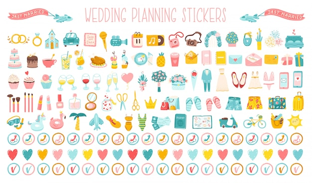Wedding big set of cartoon hand-drawn icons, stickers for planning a holiday. cute simple illustrations of a wedding dress, costume, flowers and the entire organization of the celebration