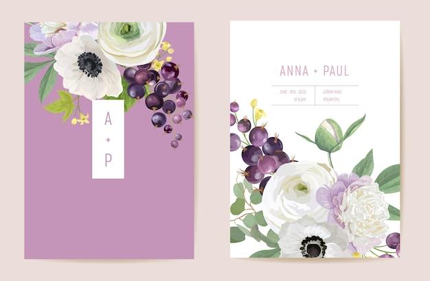 結婚式の黒スグリの花のベクトルカード、ベリーの果実、花、葉の招待状。水彩アネモネ、牡丹、バラの花のテンプレートフレーム。ボタニカルブーケsavethe date豪華カバー、モダンポスター
