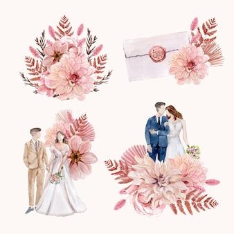 Wedding bouquet arrangement set in watercolor style