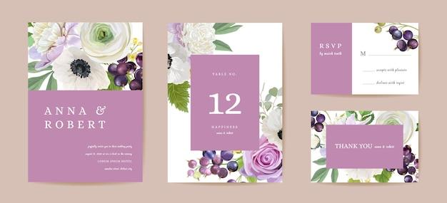 ウェディングブーケフローラルセット。黒スグリ、シャクヤク、アネモネ、バラの花、ベリーの果実、葉のイラスト。日付を保存するためのベクトル水彩テンプレートグラフィック要素、現代の招待状