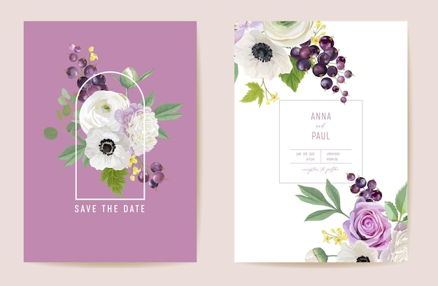 Wedding bouquet floral set. black currant, peonies, anemones, rose flowers, berry fruits, leaves illustration. vector watercolor template graphic elements for save the date, modern invitation