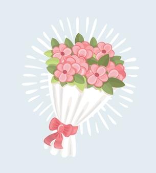ピンクのバラのアイコン、漫画スタイルのウェディングブーケ