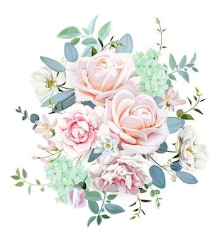 장미와 브리에 꽃이 있는 웨딩 부케