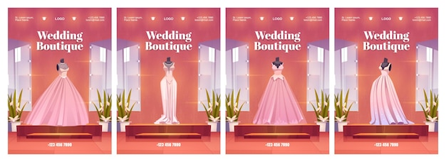 Wedding boutique posters with luxury bride dresses and accessories