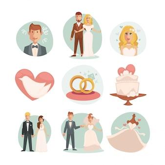 Свадьба жених и невеста. векторные свадебные иллюстрации