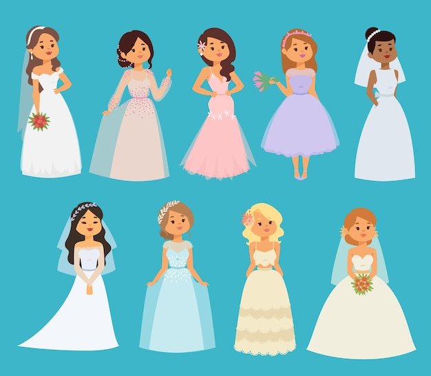 Wedding brides girl characters white dress illustration celebration fashion woman cartoon girl