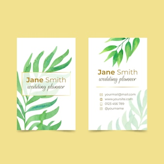 Wedding business card template with leaves