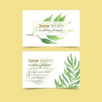 Wedding business card with leaves