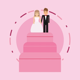 Wedding cake over pink background