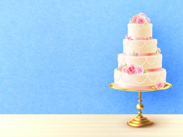 Wedding cake with roses realistic illustration