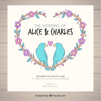 Wedding card birds design