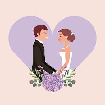 웨딩 카드 신부와 신랑의 마음 꽃에 손을 잡고