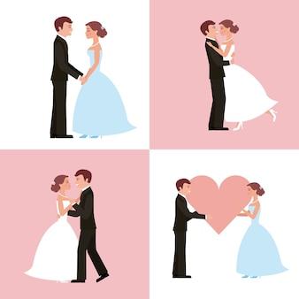 웨딩 카드 신부 및 신랑 세트