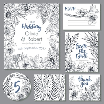 ウェディングカードコレクション。招待状のテンプレート、ありがとうカード、日付の保存、出欠確認。スケッチスタイルの美しい手描きの花の装飾品、花束、花輪。