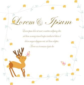 Wedding card deer in spring theme