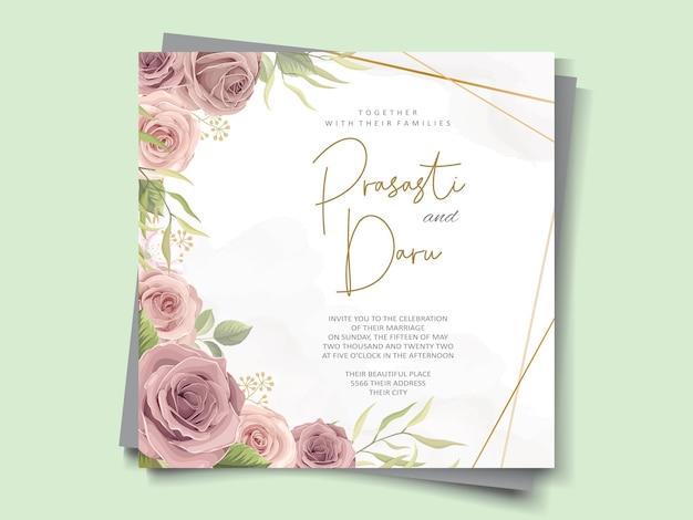 Дизайн свадебной открытки с красивыми орнаментами из роз