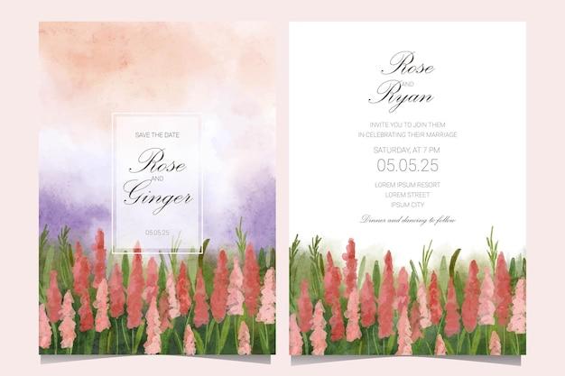 Wedding card design with garden watercolor landscape