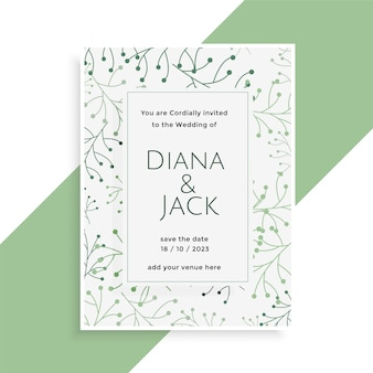 Wedding card design with stylish leaves