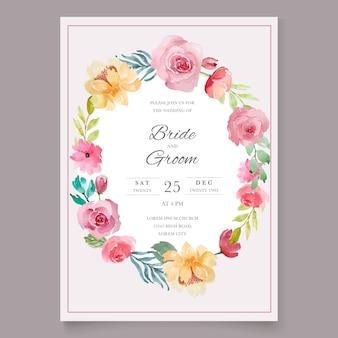 Wedding card floral vintage template