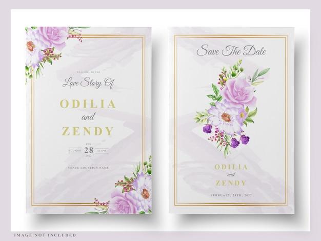 웨딩 카드 꽃 수채화