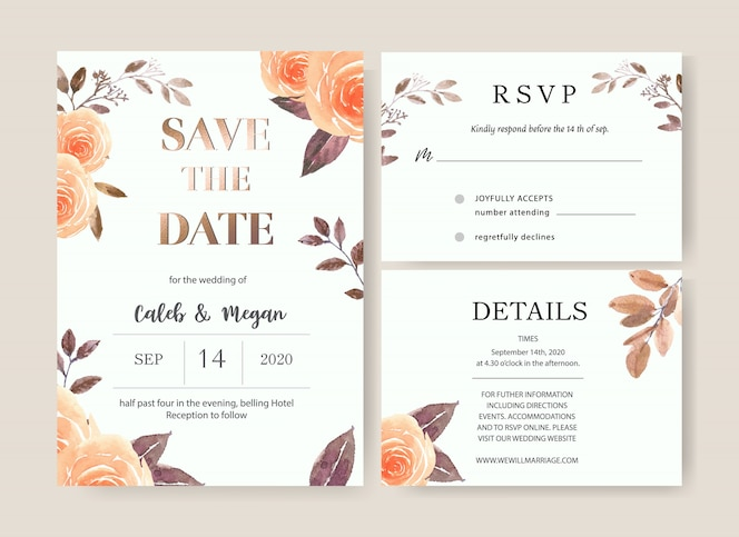 Wedding card flower watercolor, thanks card, invitation marriage illustration
