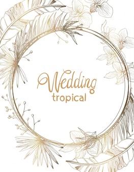 Wedding card golden tropic flowers line art. summer floral frame decorations