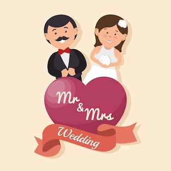 Wedding card happy couple with heart mr mrs design