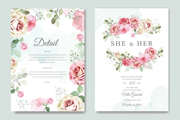 Wedding card and invitation card with beautiful roses template