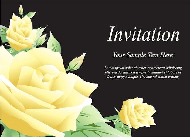 ウェディングカード、黄色のバラの招待状
