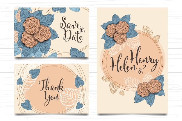 Wedding card invitation roses floral design abstract art vintage style