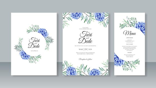 花の水彩画とウェディングカードの招待状セットテンプレート