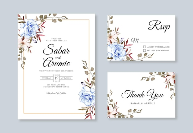 水彩花柄のウェディング カード招待状セット テンプレート