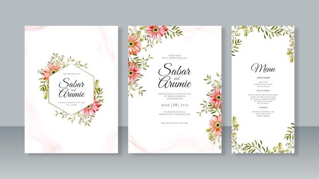 水彩花柄のウェディングカード招待状セットテンプレート