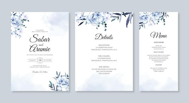 水彩花で結婚式のカード招待状セット テンプレート
