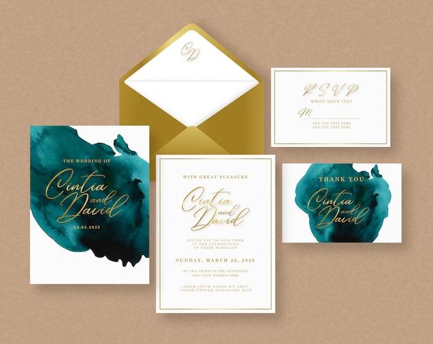 Wedding card invitation set with splash watercolor