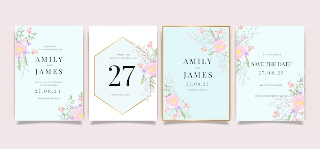 Wedding card invitation template collection