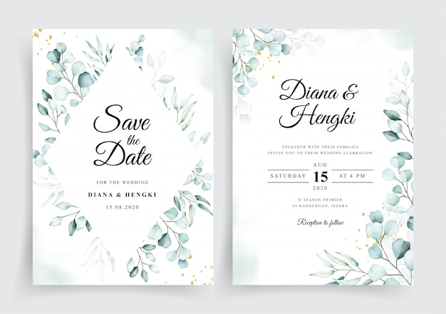 Wedding card invitation template with beautiful soft eucalyptus watercolor