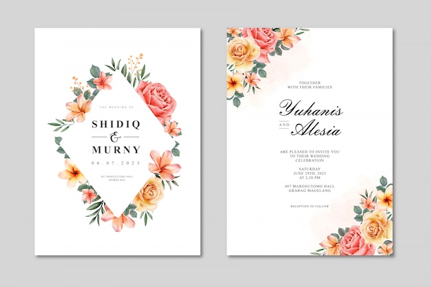 Wedding card invitation template with colorful floral fram watercolor