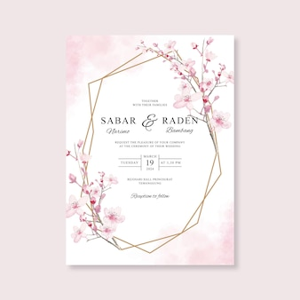 Wedding card invitation template with geometric gold and watercolor floral