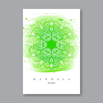 手描きの曼荼羅とウェディングカードの招待状のテンプレート