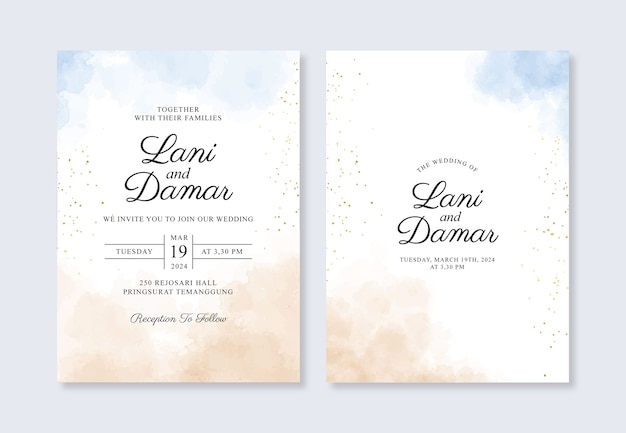 Wedding card invitation template with hand painted watercolor splash