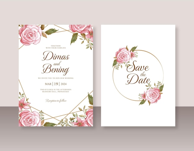 장미 수채화 그림으로 웨딩 카드 초대장 템플릿