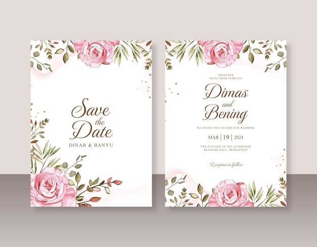 Wedding card invitation template with rose watercolor painting
