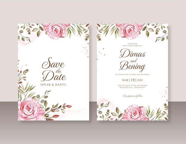 バラの水彩画とウェディングカードの招待状のテンプレート