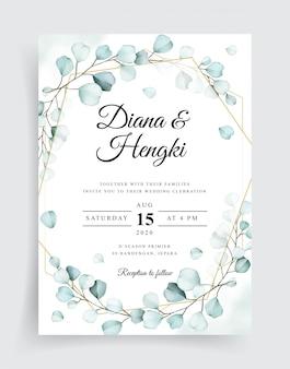 Wedding card invitation with beautiful eucalyptus