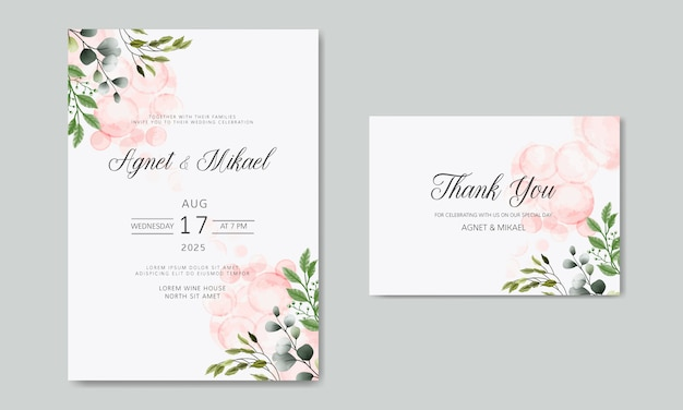Wedding card invitation with beautiful flower and leaves