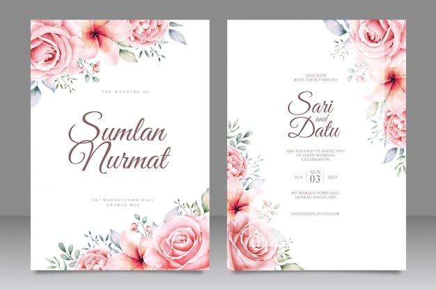 Wedding card invitation with beautiful flowers garden