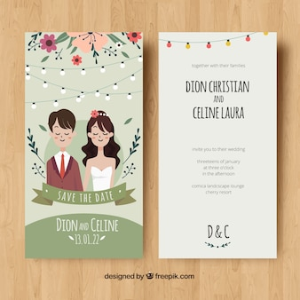 Wedding card invitation with couple and flowers